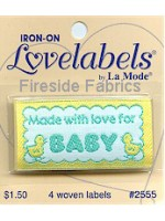 4 LABELS - MADE WITH LOVE FOR BABY - IRON ON
